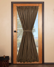 BLACK CHECK Scalloped French Door Panel Khaki Lined Cotton 72x40 VHC Brands