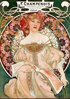 Art print poster , canvas Alphonse Alfons Mucha Art Nouveau Deco F Champenois