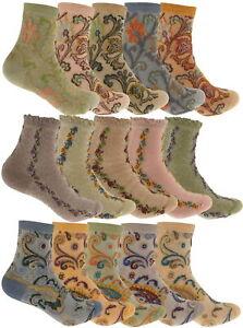 Zest 5 Pack Ladies Cotton Rich Design Socks UK Size 4-8