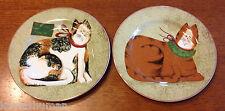 Sakura Christmas Cats Salad Plates Set of 2 Each Different Rim Shape