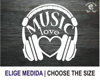 I LOVE MUSIC CASCOS MUSICA CORAZON VINILO PEGATINA VINYL STICKER DECAL ADESIVI