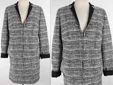 New AKRIS sz 16 / US 46 skirt suit jacket coat white black weave