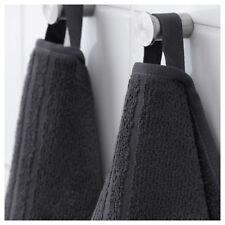 2 x IKEA VÅGSJÖN (Vagsjon) Dark Grey 100% Cotton Hand Towels (50x100cm)