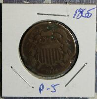 1865 2 CENT PIECE COPPER COLLECTOR COIN FREE SHIPPING
