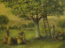 J Preus (XX) -schönes Gemälde 1988: VIER LEUTE BEI DER APFEL-ERNTE IM ALTEN LAND