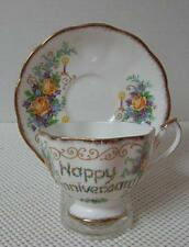 """China CUP & SAUCER by QUEEN ANNE """"HAPPY ANNIVERSARY"""" Floral Candles Gold Trim"""
