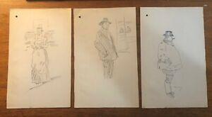 (3) Original Phil May Artist Pencil Sketches Signed Caricaturist Art Vanity Fair