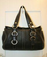 COACH Chelsea Black Pebbled Leather Turn Lock Shoulder Bag Tote Purse F12334
