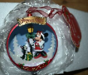 Disney Store Minnie Mouse and Figaro cat open Bauble Christmas tree ornament