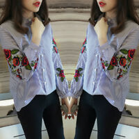 Women Flower Rose Embroidery Blouse Casual Loose Lapel Shirt Ladies Tops