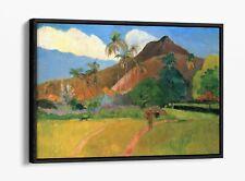 PAUL GAUGUIN, TAHITIAN LANDSCAPE -FLOATER EFFECT FRAMED CANVAS ART PRINT- BLUE