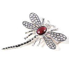 Silver / Garnet Dragonfly Lace-wing Brooch