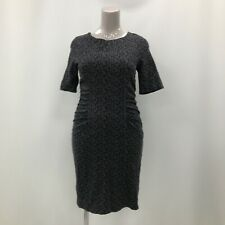 Hobbs Dress Womens Size UK 16 Black Grey Patterned Cotton Casual Everyday 282716