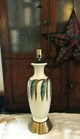 Vintage Hand Painted Ceramic and Brass/Copper Mid Century Lamp