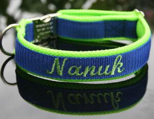 individuelles Hundehalsband mit Name und Telefonnummer bestickt   Farbauswahl