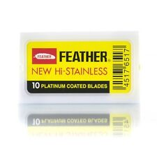 Feather Hi-Stainless Platinum Double Edge Razor Blades Pack of 10/SAME DAY POST
