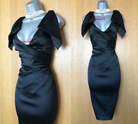Karen Millen UK 12 Black Origami Satin Knee Length Wedding Cocktail Midi Dress