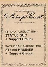 Status Quo Steam Hammer Midnight Court show advert Time Out cutting 1972