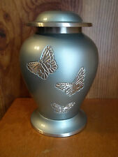 """Smaller Pale Green w/Butterlies Solid Brass Urn~5""""~~up to 28#~~Not Quite Perfect"""