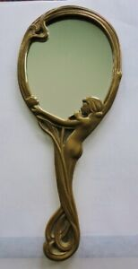 ANTIQUE ART NOUVEAU SOLID BRASS HAND MIRROR FIGURAL NUDE FEMALE LADY FRENCH