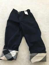 NWT Burberry LOGO NOVA PLAID CHECK Pants 4 Navy Blue Khaki Designer Chinos PABLO