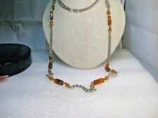 "Vintage Amber Beaded & Filigree Necklace, 40"", Single & Multi-Strand, 1970's-80s"