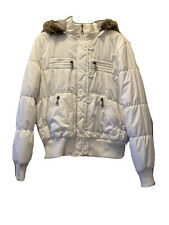 rue21 White Faux Fur Lined Hooded Jacket Juniors Size Xl