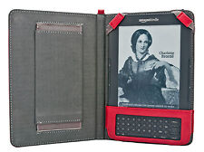 Kindle Keyboard 3 3g WiFi Hand Strap Case Red Leather Cover Screen Guard