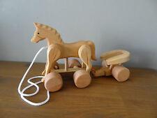 Tirare in legno Cavallo con carretto-fatto a mano, bellissimo giocattolo