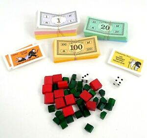 Deluxe Monopoly Game Pieces Wood Hotels House, Money, Cards, Dice 1998