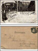 1898 Gruss aus MÜNCHEN Litho-AK Hofbräuhaus Mehrbildkarte nach Oberweissbach Th.