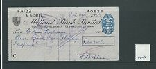wbc. - CHEQUE - CH1123- USED -1959/60 - MIDLAND BANK, HENDON CENTRAL LONDON NW4
