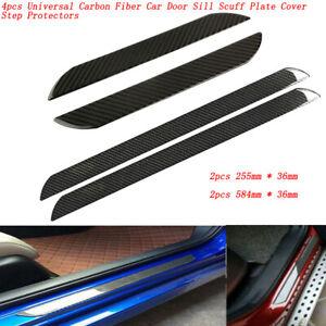 4pcs Car Truck Carbon Fiber Door Sill Plate Scuff Cover Protectors Molding Trim