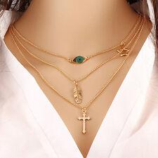 Fashion 3 Layer Choker Chain Eye Feather Cross Pendant Necklace Women Jewelry