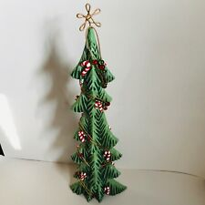 Fitz and Floyd Large 2004 18� Skinny Christmas Tree Wire Beads Candy Cane W/ Box