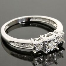 Solid 10k White Gold 0.10ctw Genuine Diamonds Engagement Ring Size 6.75