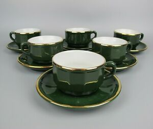 Vtg set of 6 x Apilco Coffee Cups & Saucers. Green & gold rim. France. 150ml