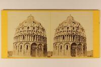 Italia Pisa Battistero c1865 Foto Stereo Vintage Albumina PL64L3