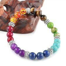7 Chakra Healing Balance Prayer Beaded Bracelet Lava Yoga Reiki Stones Charm