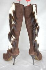 SUPPER SEXY!!! ROBERTO CAVALLI FAUX FEATHER BROWN SUEDE WOMEN  BOOTS EU 38 US 8