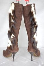 SUPPER SEXY!!! ROBERTO CAVALLI BROWN SUEDE FAUX FEATHER WOMEN BOOTS EU 38 US 8