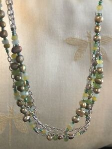 Retired Silpada Sterling Silver and Green Pearl, Aventurine, Jade Necklace N1683