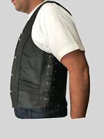 Leather Vest Biker Waistcoat Side Laces Motorcycle Biker Club Vest Cow Hide .