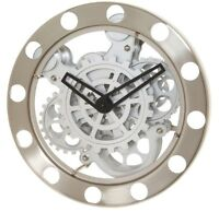 Kikkerland Nickel/White Gear Wall Clock 1718