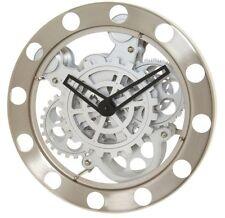 Kikkerland Nickel/White Gear Wall Clock 1718