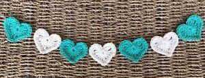 Pretty Turquoise & Cream Heart Bunting Handmade Crochet Nursery Baby Shower Gift