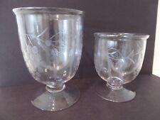 Vintage (2) Hand Etched Clear Glass Pedestal Compotes Vases, Grape Leaf Pattern