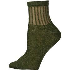 Free People Womens Roseland Green Metallic Lurex Ankle Socks O/S BHFO 8725
