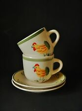 TWO SCOTTS OF STOWE COCKEREL CUPS & SAUCERS - GREAT CONDITION