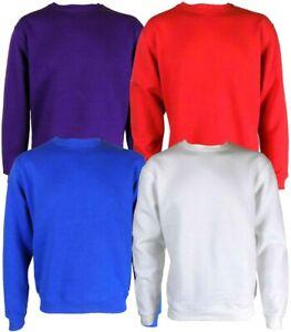 Mens Sweatshirt Plain Fleece Sweat Top Pullover Crew Neck Jumper Work Jersey TOP